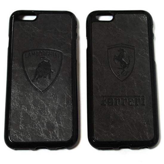 Изображение Задняя панель для iPhone 6 резиновая с кожей Ferrari тёмно-серая