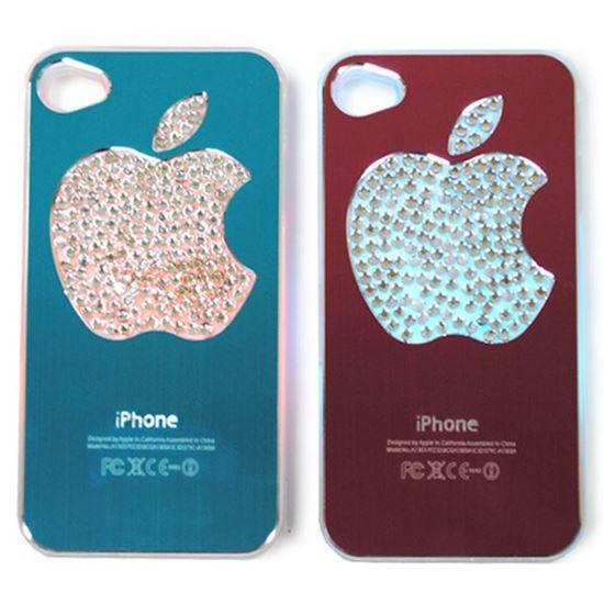Изображение Задняя панель для iPhone 4/4S световая алюминиевaя со стразами Яблоко голубая