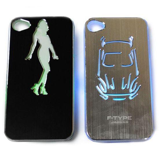 Изображение Задняя панель для iPhone 4/4S световая алюминиевая E-Type Jaguar серебристая
