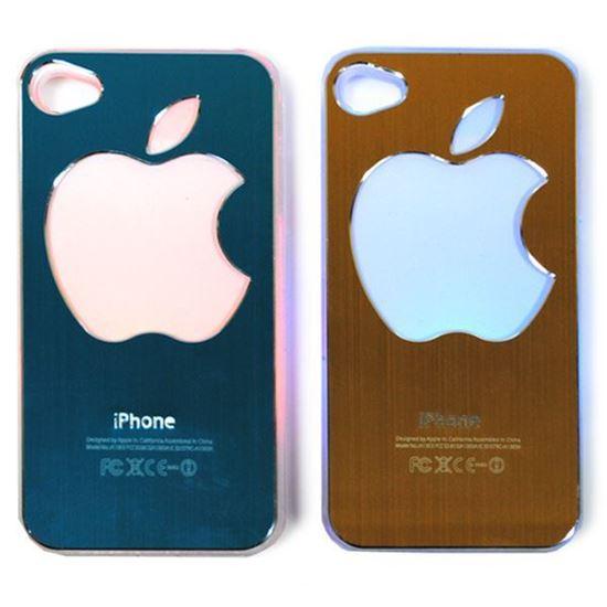 Изображение Задняя панель для iPhone 5/5S световая алюминиевaя со стразами Яблоко голубая