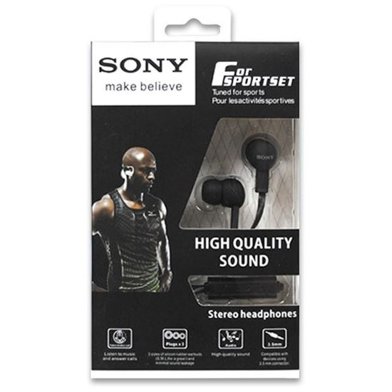 Изображение HF гарнитура вакуумная SONY NS-12 (Pod, iPhone, Samsung) в коробочке чёрная