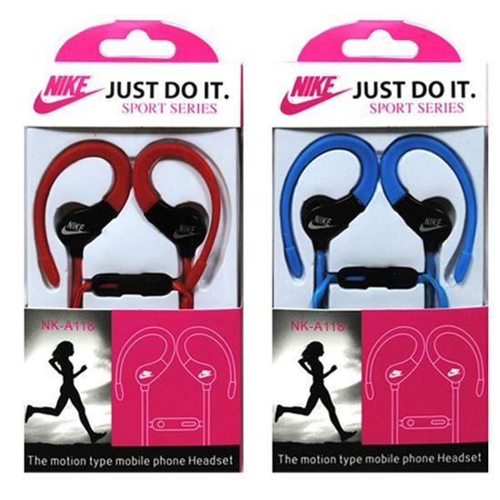 Изображение HF гарнитура спортивная с креплением на ухо Nike NK-А118 (iPod, iPhone, Samsung) в коробочке голубая