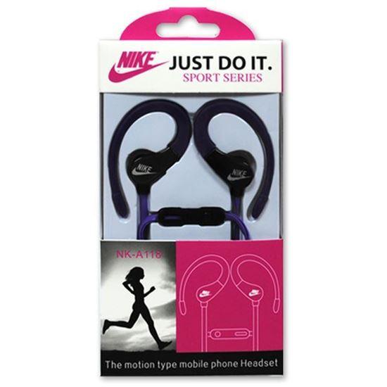 Изображение HF гарнитура спортивная с креплением на ухо Nike NK-А118 (iPod, iPhone, Samsung) в коробочке фиолет.