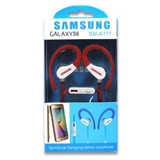 Изображение HF гарнитура спортивная с креплением на ухо SAMSUNG SM-A117 (iPod, iPhone, iPad) в коробке красная