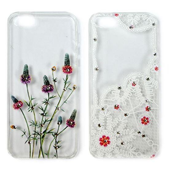 Изображение Задняя панель для iPhone 4/4S тонкий силикон со стразами Кружева и цветы