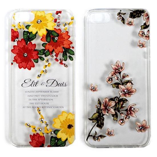 Изображение Задняя панель для iPhone 4/4S тонкий силикон со стразами Цветы Elit & Duis