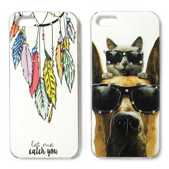 Изображение Задняя панель для iPhone 5/5S пластиковая матовая со стразами Собака и кот в очках