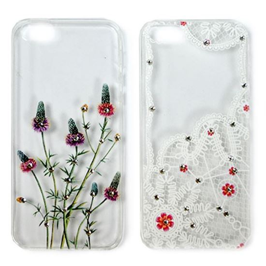 Изображение Задняя панель для iPhone 5/5S тонкий силикон со стразами Кружева и цветы