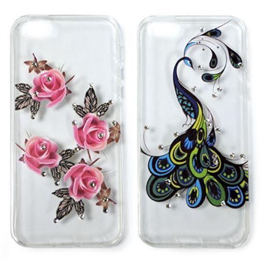 Изображение Задняя панель для iPhone 5/5S тонкий силикон со стразами Розовые розы