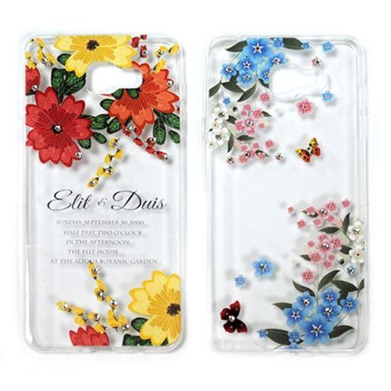 Изображение Задняя панель для iPhone 6/6S тонкий силикон со стразами Цветы и бабочки