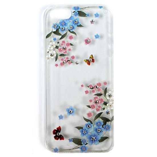 Изображение Задняя панель для Samsung i9600 Galaxy S5 тонкий силикон со стразами Цветы и бабочки