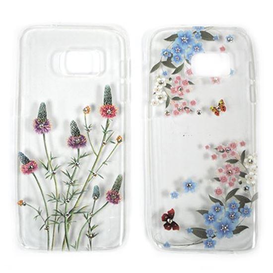 Изображение Задняя панель для Samsung SM-J120F Galaxy J1 2016 тонкий силикон со стразами Цветы и бабочки