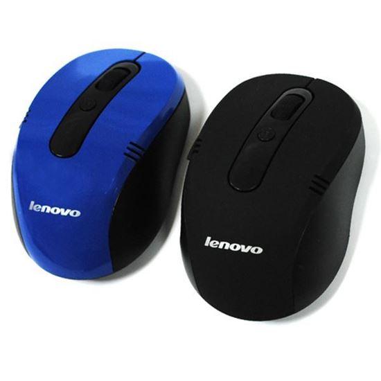 Изображение Мышь компьютерная беспроводная Lenovo фигурная чёрно-синяя