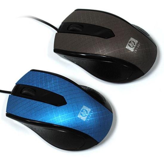 Изображение Мышь компьютерная проводная HP 803 рифлёная чёрно-голубая