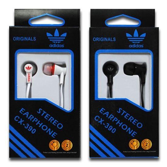 Изображение Наушники вакуумные Adidas CX-390 (MP3, CD, iPod, iPhone, iPad) в коробке чёрные
