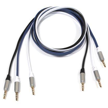 Изображение  Стерео кабель 3.5 Jack (M) - 3.5 Jack (M) 1 метр резиновый плоский