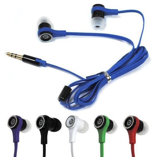 Изображение Наушники вакуумные Monster Beats XC-101 (MP3, CD, iPod, iPhone) с чёрным проводом в пакете фиолетов.