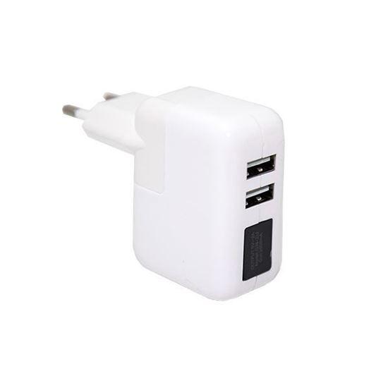 Изображение Сетевой Power Adapter (2.4A - 12W) для Apple iPad 2/3 (2 USB) в коробочке