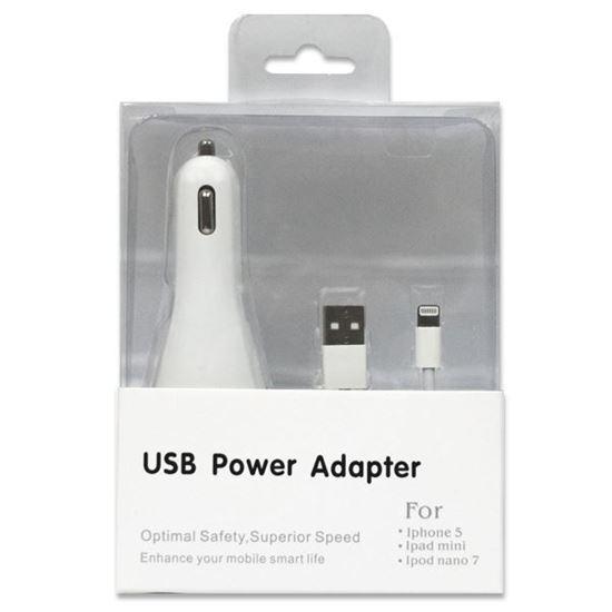 Изображение Набор 2 в 1 автомобильное з/у USB + кабель для iPhone 5/5S/5C/iPad Mini/iPod Nano 7 в коробочке