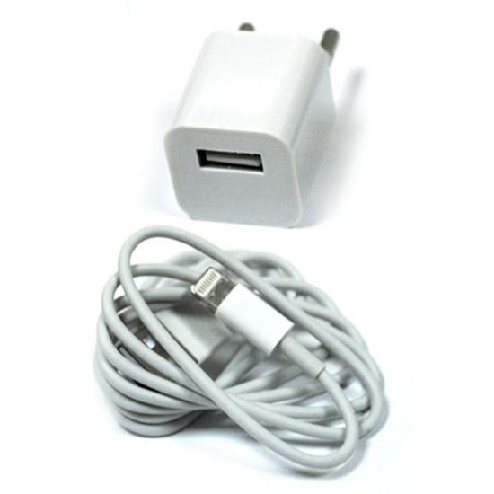 Изображение Набор 2 в 1 сетевое з/у USB квадратное+кабель для iPhone 5/5S/iPad mini/iPod nano7 в пакете белый