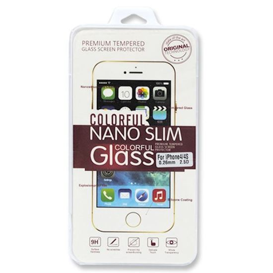 Изображение Защитное закалённое стекло для дисплея Colorful Nano slim Glass 0.26 для iPhone 4/4S