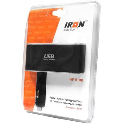 Изображение Автомобильный разветвитель прикуривателя iRon Selection WF-0100 3 гнезда +USB вход (12/24В) на ножке