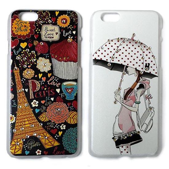 Изображение Задняя панель для iPhone 6 Plus пластиковая матовая со стразами Девушка с зонтом