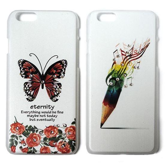 Изображение Задняя панель для iPhone 6 пластиковая матовая со стразами Бабочка с розами