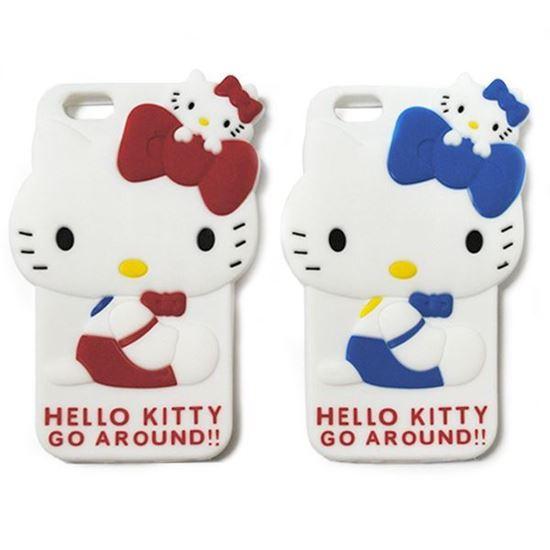 Изображение Задняя панель для iPhone 5/5S резиновая Hello Kitty Go Around красная