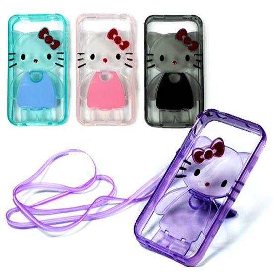 Изображение Задняя панель для iPhone 4/4S силиконовая Hello Kitty с подставкой и шнурком чёрная