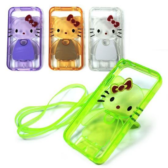 Изображение Задняя панель для iPhone 5/5S силиконовая Hello Kitty с подставкой и шнурком сиреневая