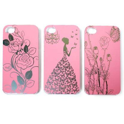 Изображение Задняя панель для iPhone 5/5S пластиковaя лаковая розовая Розы с бабочкой