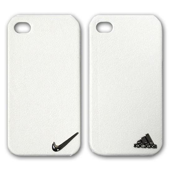 Изображение Задняя панель для iPhone 4/4S пластиковая с кожей и лoготипом Adidas белая