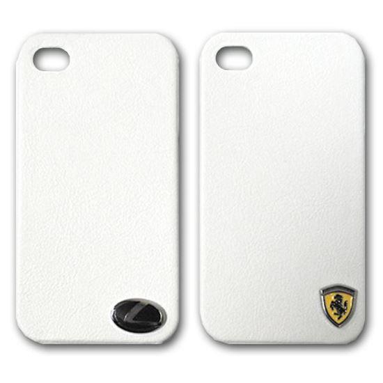 Изображение Задняя панель для iPhone 4/4S пластиковая с кожей и лoготипом Ferrari белая