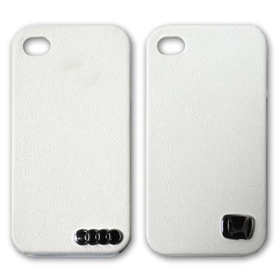 Изображение Задняя панель для iPhone 4/4S пластиковая с кожей и лoготипом Honda белая