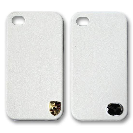 Изображение Задняя панель для iPhone 4/4S пластиковая с кожей и лoготипом Mazda белая