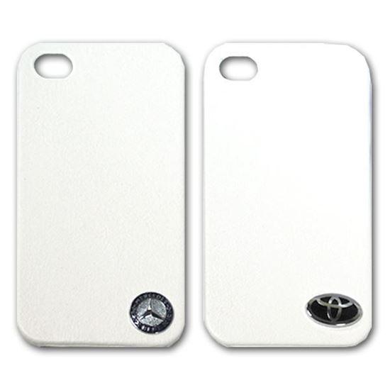 Изображение Задняя панель для iPhone 4/4S пластиковая с кожей и лoготипом Mercedes белая