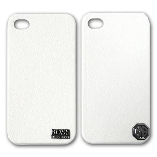 Изображение Задняя панель для iPhone 4/4S пластиковая с кожей и лoготипом MG белая