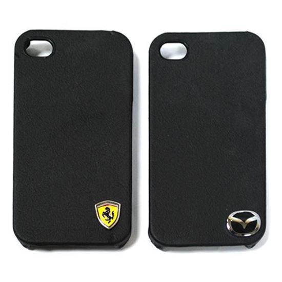 Изображение Задняя панель для iPhone 4/4S пластиковая с кожей и логотипом Ferrari черная