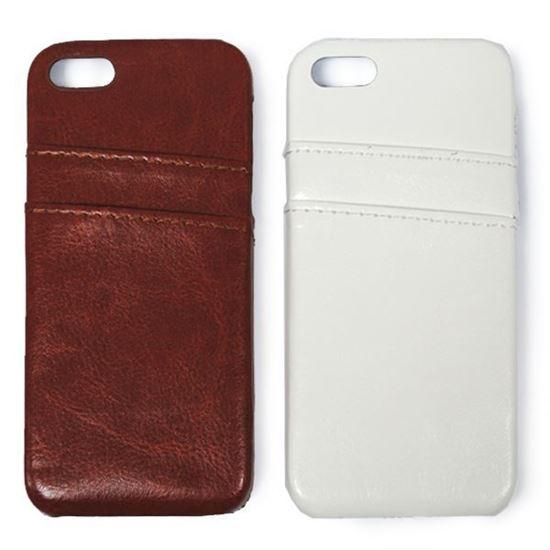 Изображение Задняя панель для iPhone 5/5S пластиковая с кожей и карманом коричневая