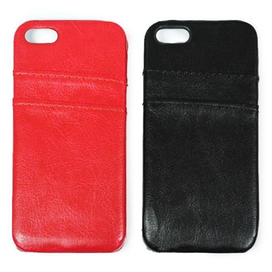 Изображение Задняя панель для iPhone 5/5S пластиковая с кожей и карманом красная