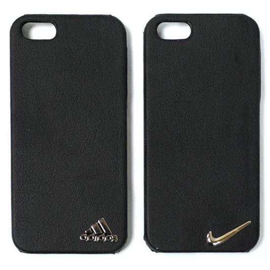 Изображение Задняя панель для iPhone 5/5S пластиковая с кожей и логотипом Adidas чёрная
