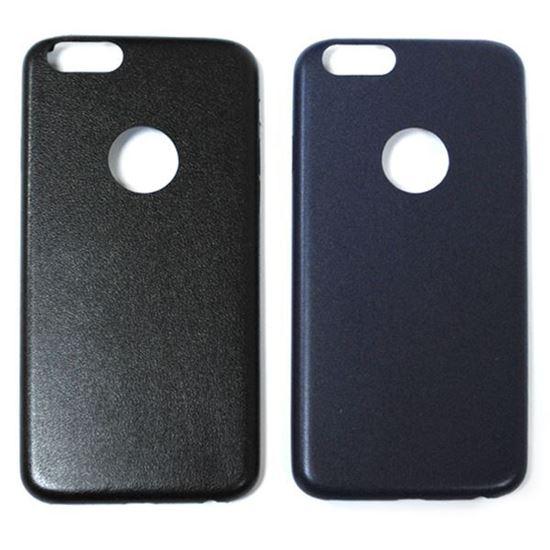 Изображение Задняя панель для iPhone 6 кожаная с окошком чёрная