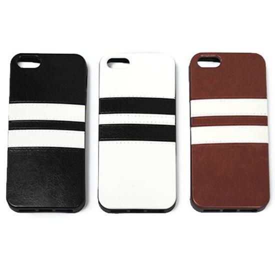 Изображение Задняя панель для iPhone 6 резиновая с кожей чёрная с белыми полосами