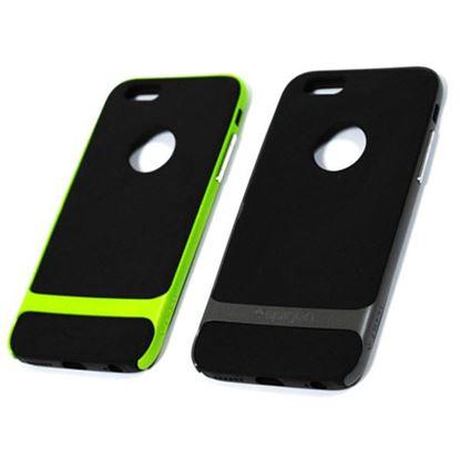 Изображение Задняя панель для iPhone 6 Spigen прорезиненная с окошком чёрно-зелёная