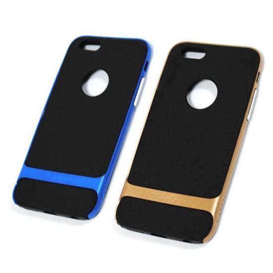 Изображение Задняя панель для iPhone 6 Spigen прорезиненная с окошком чёрно-золотистая