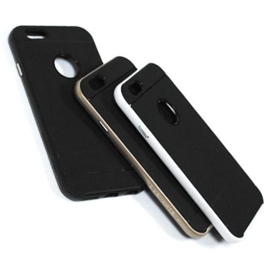 Изображение Задняя панель для iPhone 6 Spigen резиновая с окошком чёрно-золотистая