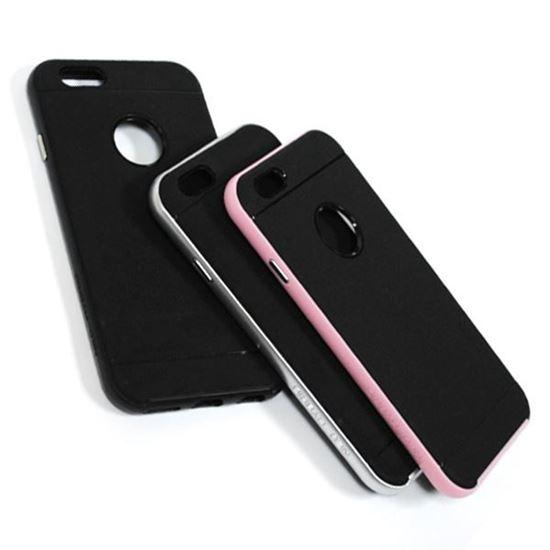 Изображение Задняя панель для iPhone 6 Spigen резиновая с окошком чёрно-розовая