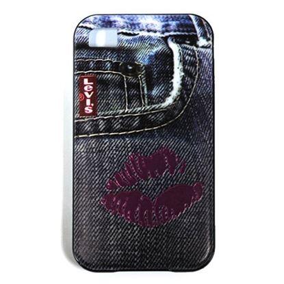 Изображение Задняя панель для iPhone 4/4S резиновая с бампером Jeans Kiss