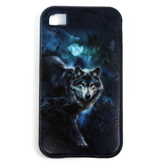 Изображение Задняя панель для iPhone 4/4S резиновая с бампером Волк